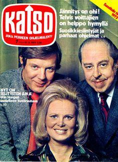 Katson lukijat äänestivät vuoden 1973 suosikkiesiintyjänsä: Heikki Kahila, Tuula Rosenquist ja Carl-Erik Creutz. Voittajat saivat Telvis-patsaat. Yhtä hymyä...
