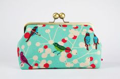 Home pouch  Etsuko Cherry in turquoise  metal frame by octopurse, $63.90