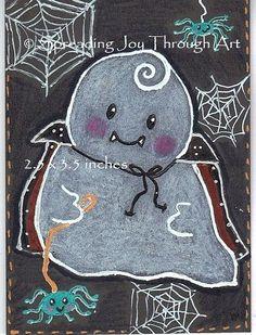 ACEO oRiGiNaL Joy Art Halloween Ghost Dracula Vampire Spider Web Pet Leash Cute  #Miniature