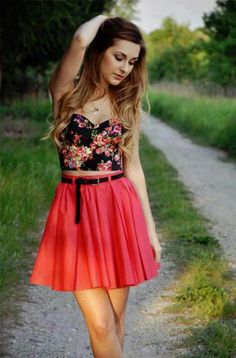 Floral Crop Top & Pink Skirt