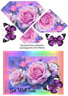- A very pretty pyramid card front with beautiful Roses and a matching butterfly in pretty colours. Very easy to make and fits. Beautiful Roses, Pretty Flowers, Group Art Projects, Thing 1, Get Well Soon, Bottle Art, Cat Art, Fathers Day, Decoupage