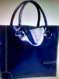 Leather One Shoulder Bag/ Blue