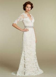 2013 Gorgeous Backless Long Sleeve Lace Wedding Dresses