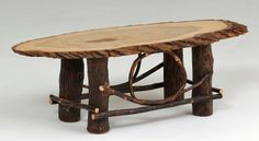 Rustic Hickory Furniture - Slab Coffee Table with Natural Bark Edge - Hickory Base - Item #CT03092