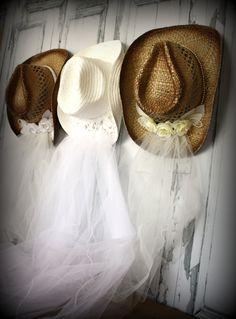 Western wedding Cowgirl hat and veilwestern by MorganTheCreator