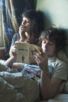 couple --- smoking & reading