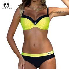 60b51291d94c9 Bikini set Hot sale New Button design feminino sexy Halter Top Swimwear  Steel support Swimsuit women swim bathing suit - TakoFashion - Women s  Clothing ...