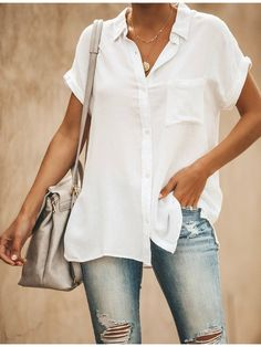 Women Solid Color V Neck Short Sleeve Casual Blouse Shirts & Tops, Collar Shirts, Shirt Blouses, Short Sleeve Blouse, Long Sleeve Tops, Short Sleeves, Casual Tops, Casual Shirts, Casual Wear