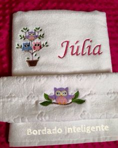 #bordadointeligente #bordadocomputadorizado #embroidery #bordado #personalized #personalizado #baby #toalhas #owl #julia