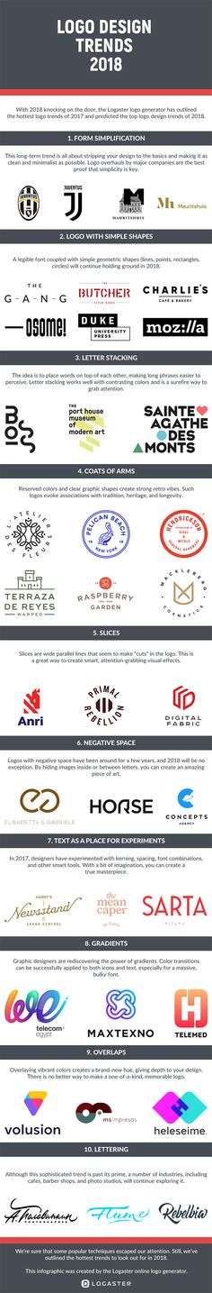 Logo Design Trends to Watch for in 2019 [Infographic] 10 Logo Design Trends to Watch for in 2018 Logo Design Trends to Watch for in 2018 [Infographic] 10 Logo, Typography Logo, Typography Design, Branding Design, Web Design, Graphic Design Tips, Graphic Design Inspiration, Corporate Design, Corporate Branding