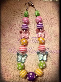 Spring Pastel Butterfly Dots and Stripes Chunky Bead Necklace for Little Girls, Toddler Jewelry, Trendy Kid Gifts, Photo Prop, Infants,  on Etsy, $13.49