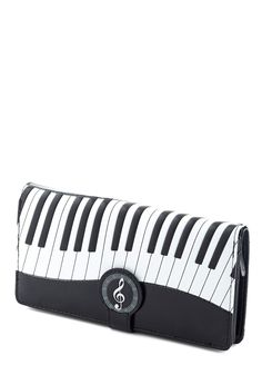Keys to Spending Wisely Wallet. Whether youre purchasing a new record or simply grabbing change for the parking meter, this black-and-white wallet has passersby taking note! Music Decor, Moon Jewelry, Shopper Tote, Music Love, Music Stuff, Modcloth, Tote Handbags, Purses And Bags, Retro Vintage