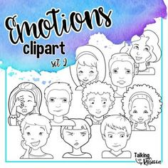 Emotions clipart set 2 by Talking with Rebecca is a set of 10 line drawings. Five boys and five girls convey ten different emotions with their face and shoulders. Images are only heads and shoulders. Color versions are not included in this download.Images are png with a transparent background, saved at 300 dpi.Included emotions are:(Happy) SurprisedConfusedCuriousDisgustedEmbarrassedExcitedProudScaredShyUse of these graphics require a link to Talking with Rebecca.
