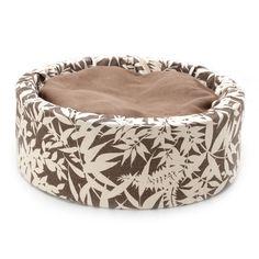 Beautiful Basics Bucket Luxury Cat Bed by Barb Joyce (Taupe & Cream Bamboo Leaf Print). $45.00, via Etsy.