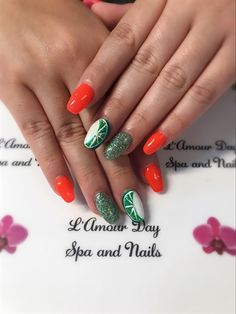 Coral And Green by Nhulan from Nail Art Gallery