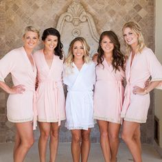 Blush wedding robes for bridesmaids by loveophelia.com