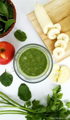GREEN DETOX SMOOTHIE   Combination of spinach, banana, apple, and celery are just perfect for your healthy.  Recipe is on the blog.