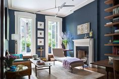 Dark blue wall paint for living rooms