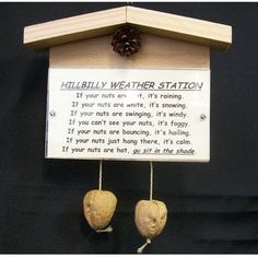 Hillbilly weather station novelty gag gift (custom title available) Diy Gag Gifts, Best Gag Gifts, Silly Gifts, Joke Gifts, Homemade Gifts, Funny Gifts, Christmas Gifts, Prank Gifts, Christmas Ideas