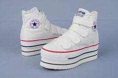 platform converse white Converse Chuck Taylor High, Converse High, High Top Sneakers, Platform Converse, Chuck Taylors High Top, High Tops, Shoes, Fashion, Moda