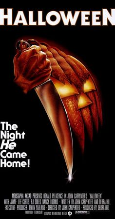 An original, blue rating box, linen-backed, one-sheet movie poster x from 1978 for John Carpenter's Halloween with Jamie Lee Curtis and Donald Pleasence. Art by Bob Gleason. Halloween Film, Best Halloween Movies, Harry Potter Halloween, Halloween Season, Halloween Horror, Halloween Night, Halloween Jamie, Halloween Poster, Happy Halloween