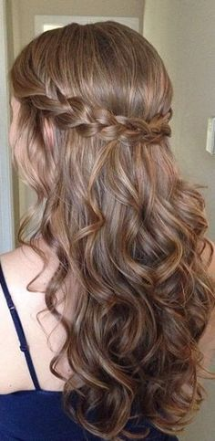 Long Length Haircuts 2016 - New Site Winter Hairstyles, Easy Hairstyles, Hairstyle Ideas, Simple Curled Hairstyles, Braid And Curls Hairstyles, Braids And Curls, Prom Hairstyles, Chignon Hair, Teenage Hairstyles