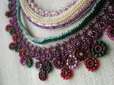 RESERVED Phlox Alyssifolia ... Beaded Crochet Necklace