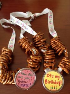 These pretzel necklaces were the perfect accessory to beer tasting!