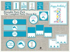 Printable Ocean Birthday Party Decoration Pack | Beach Sea Dolphin Boy | Bunting Banner Flags | Turtle Whale | Instant Download | SEA-BL-PP