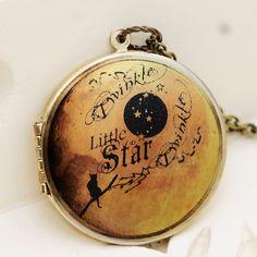 Locket, Moon Locket,Photo Locket, Brass Locket,Wedding Necklace,Twinkle Twinkle Little Star , Vintage Locket