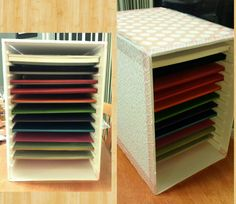 Paper storage DIY made with foam board from craft store,  a box cutter,  e6000 glue,  designer series paper from Stampin Up, mod podge,  and Washi tape.   This style of storage is so pricey,  I made my own.