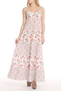 Printed Long Dress in Ivory and Pink - Beyond the Rack