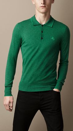 Burberry - Long Sleeve Merino Wool Polo Shirt