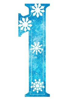"""1"" Free Frozen snowflake number"