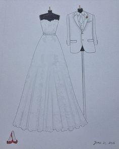 Vestido de novia personalizado y dibujo retrato de novios por Zoia