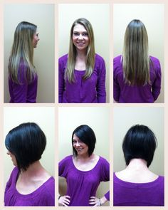 Hair style (inverted bob) and color by Ashley, before and after