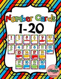 Number Cards with corresponding amount of boxes colored in per each card/number.
