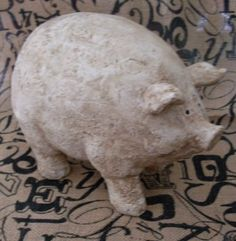 Primitive Folkart Chunky Shabby Chic Pig Sculpture  TheWareHouseShelf  Collectible on Etsy, $22.00