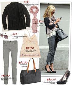 gray skinny jeans, black heels, black blazer, pink scarf, floral top