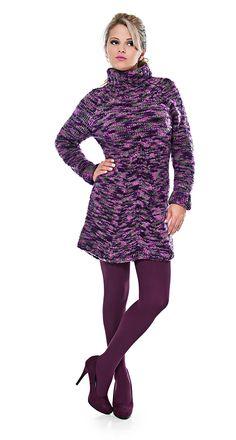 #Vestido roxo e cinza - Cisne Arrojo #tricô #Moda #Inverno #CoatsCorrente #receita