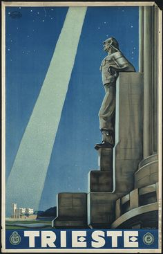 File name: 08_05_000044  Title: Trieste  Created/Published: Italy : Printed in Italy by the E.N.I.T.  Date issued: 1938  Physical description: 1 print (poster) : lithograph, color  Summary: Travel poster showing a detail view of the statue of a man on the Faro Della Vittoria lighthouse and in the background, the Miramare Castle illuminated by a shaft of light coming from the moon(?).  Genre: Travel posters; Lithographs  Subjects: Tourism; Castles & palaces; Lighthouses; Ente nazionale…