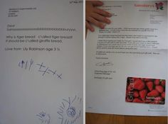 Lovely response from Sainsburys to a little girls letter - great customer service