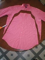 Little girls dress from Daddy's button up shirt. I have made a lot of dresses for the girls from Fran's old dress shirts but not ones like this! I love this! Hmmmm, which one should I take next?