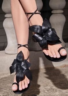 These beautiful black flat sandals feature a handmade and adjustable black flower embellishment, an ankle strap, a thumb loop and a leather sole with signature logo. A truly seductive couture flats that make your heels jealous. Giuseppe Zanotti Design, Couture Shoes, Classic Leather, Miu Miu Ballet Flats, Black Flats, Black Rings, Summer Shoes, Flat Sandals, Womens Flats