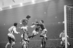 December  2nd. 1967: George Best in action to score his second goal with a header past West Bromwich Albion goalkeeper John Osborne during the League Division One match at Old Trafford