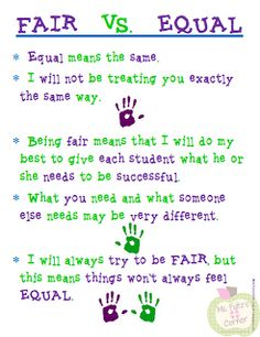 A teacher told me today that reading a test to a special education student and them getting isn't fair. Fair doesn't always mean equal. Exactly how God is with his children too. Classroom Behavior, Classroom Posters, School Classroom, Classroom Ideas, Classroom Contract, Teacher Posters, Classroom Signs, Classroom Environment, Teacher Quotes