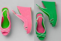 Lilly Pulitzer pink & green wedges