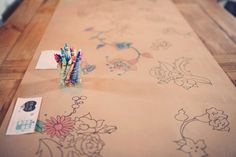 Handcrafted Brooklyn Wedding: Table runner or coloring book?