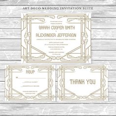 DIY Printable Wedding Invitation Suite Art Deco - Customize the wording and color of your text and background in your choice of color free of charge. ------------------------------------------------------------ ■ ABOUT THIS LISTING ■ The templates are designed to be printed on 8.5 x 11 paper. 5 x 7 Invitation -- Prints 2 per page (fits a standard A7 envelope) 3.5 x 5 Thank You & 3.5 x 5 Response Card -- Prints 4 of each card per page (fits a standard A1 or 4-Bar envelope) ----------------...