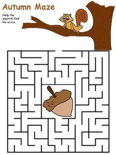 preschool Squirrel maze Mazes For Kids, Art Activities For Kids, Autumn Activities, Preschool Worksheets, Kindergarten Activities, Preschool Activities, Printable Mazes, Free Printable, Maze Worksheet
